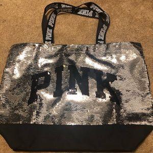 PINK Victoria's Secret Sequin Logo Tote Bag